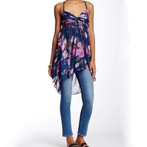 Free People | Blue Floral Mirage Hi Low Tunic Top